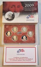 2009 S Proof Territories Quarters Set 90% Silver Original Box and COA 6 Coins