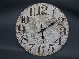 Grande Orologio Parete 34 CM Nostalgia Stile Antico Vecchio Mappamondo Globus