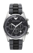 Emporio ARMANI Mens Gents Black Grey Chronograph Watch AR5866