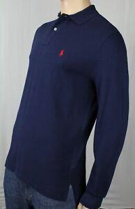 Polo Ralph Lauren Navy Blue Mesh Long Sleeve Classic Polo Shirt NWT