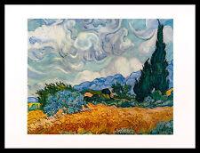 Vincent van Gogh Zypressen Poster Kunstdruck mit Alu Rahmen in schwarz 24x30cm
