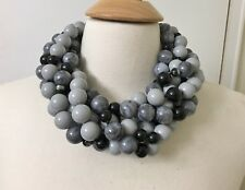 Spectacular Multi Strand Gray Acrylic Beads Designer Necklace