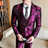 Floral Printed Suit For Men Slim Fit Single Breasted Event Party Male Wear Suits