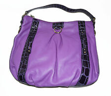 BNWT Maxx New York Genuine Leather Plum Hobo Large Tote Hand Bag with Pockets