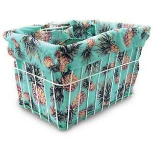 CRUISER Candy Pineapple Fantasy Basket Liner Teal/Yellow/Brown/Green Print Bike