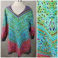 LA CERA Plus size 2X 18/20 Wearable Art kaleidoscope Tunic Blouse hippie boho