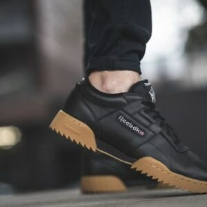 Reebok Workout Clean Ripple Classic Sneakers Trainer Vintage Low Leather Black
