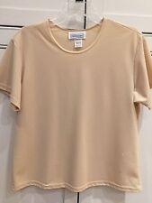 Impressions Of California Brand Ladies M Medium Beige Camisole Short Sleeve Top