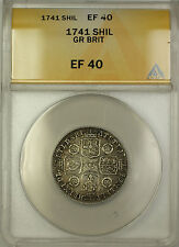 1741 Great Britain Silver Shilling Coin George II ANACS EF-40