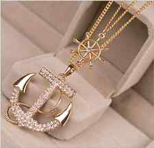 Lady/Women Crystal Rhinestone Charm Gold Color Anchor Sweater Necklace Gift