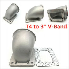 "NEW 90° 3"" Vband T4 Turbo Cast Stainless Steel Elbow Adapter Flange"