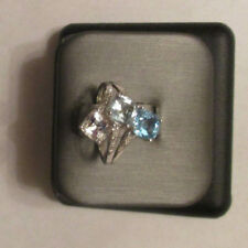 14K Gold Diamond & Blue Topaz Ring Dia=.06 F-SI1 TCW=4.56 Carats Size 6.5