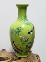 Chinese Green Base With Famille Rose  Faience Porcelain Vase