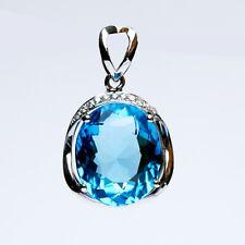 Amazing 7.63ct Natural Blue AAAAA Topaz 18K Pendant 16.1ct W/diamond 0.062ct 224