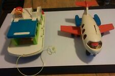 Fisher Price Fun Jet #183 and Happy Houseboat # 985 Vintage Toys