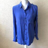 J Crew Broadway & Broome Womens Top Blue Silk Button Down Shirt Size Small
