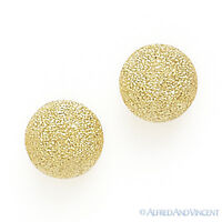 14k Solid Yellow Gold Stud Earrings 14kt 14 kt Satin / Matte-Finished Ball Studs