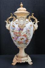 """Antique 19"""" Old Paris French Porcelain Mantle Vase/Urn Faces Lion Head Feet yqz"""