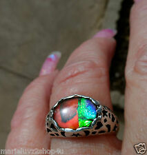 LOOK ! 11 x 9 Ammolite & Sun Moon Star Sterling Silver 7.5 Ring COLOR UNIQUE !!!