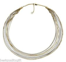 NEW MICHAEL KORS MULTI STRAND,2 TONE SILVER,ROSE GOLD CHAIN NECKLACE MKJ2016