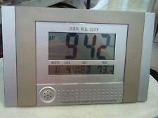 JUMBO WALL CLOCK TIME MELODIES ALARM CALENDAR THERMOMETER 11x7x1 WALL DESK L@@K*