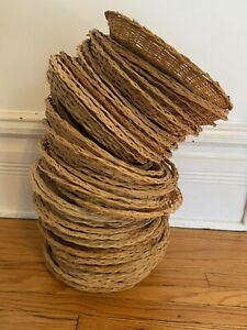 """Set Of 20 Wicker Bamboo Rattan Woven 9"""" Paper Plate Holders Camping Cook Out"""