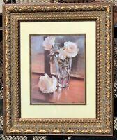 VTG Signed White Roses Still Life Print in Antique Gesso Gilt-LOOK Frame/Matted