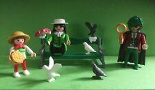 Playmobil nostalgia Sherlock Holmes familia mujer niño hombre y banco casa de muñecas