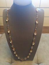 """NEW: Jacqueline Kennedy Crystal Orb & Bezel-style Necklace - 30"""" Goldtone"""
