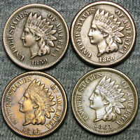 1859+1860+1862+1863 Copper Nickel Indian Head Cent Penny ---- NICE LOT --- #F126