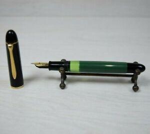 Vintage Dark Green Pelikan 140 Piston Pen With 14K Extra Fine Nib Leather Case