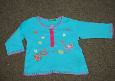 Benetton, Baby Girl, Blue, Cotton, Casual, Party, Top, 0-3 months