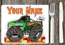 PERSONALISED KIDS BOYS MONSTER TRUCK CORK BACKED PLACEMAT 20X24  GIFT