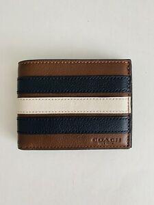 Coach Varsity Stripe Soft Leather Men's Wallet Bifold Billfold