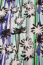 Beach Palm Trees Cotton Lycra Knit Fabric