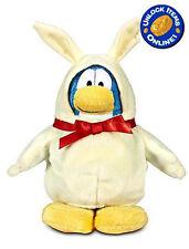 "White Chocolate Bunny Club Penguin 6.5"" Plush Soft Toy w/ Coin Code Disney S12"