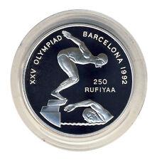MALEDIVEN - 250 Rufiyaa 1990 - OLYMPIA Barcelona - Schwimmen - SILBER - ANSEHEN