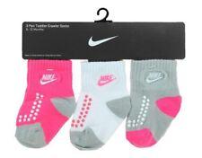 Nike Infant Baby Girls 3 Pair Pack Crawler Socks Pink/White/Grey 12-24 Months