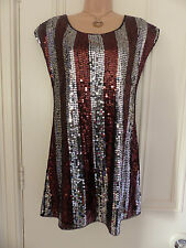 H&M size UK 10 short black dress with brown and silver sequins all over