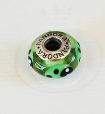 """Genuine Pandora Murano Glass Bead """"Ladybird - green"""" 790653 - retired"""