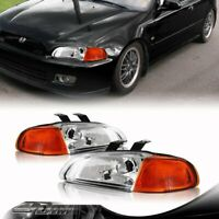 For 92-95 Honda Civic Coupe 1 PC Chrome Housing Headlight Amber Reflector Lamps