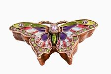Hand Made Butterfly Trinket Box. Made with Swarovski Crystals & Colorful Enamel