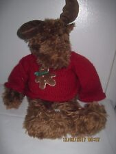 """Gund  Ginger Moose 23"""" Long Red Sweater with Gngerbread Man"""