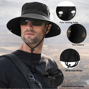 Wide Brim Sun Hat Breathable Bucket Cap Summer Fishing UV Protection Men Women