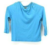 Chaps Women's Plus Size 2X Turquoise 100% Cotton Long Sleeve Boat Neck Sweater