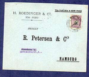 Peru Circa 1920  Cover Ica to Hamburg Scott 215