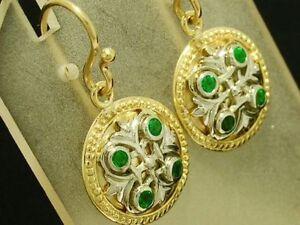E077- Genuine 9ct Solid Gold Natural Emerald Fleur-de-Lis Drop Earrings Two-Tone