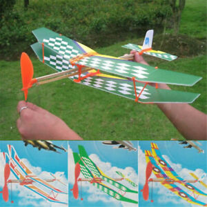 Rubber Band Elastic Powered Glider Flying Plane Airplane DIY Kids Toy Xmas Gift