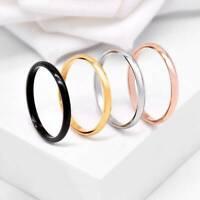 2mm Thin Polished Band Fashion Men Women Wedding Jewelry Ring Size 5-9 Gift