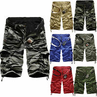 Mens Elasticated Waist Cotton Cargo Combat Shorts Summer 3/4 Pants Trousers UK